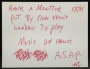 Handwritten Note On Promo Photo Card *Play Music 24 Hours/Day* (5/5/85)