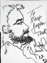 Michael Jackson Profile Drawing Of A Bearded Man Signed By Michael *To Steve Japan Tour 12 92*