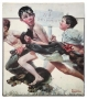 """Art Print Of Norman Rockwell's """"No Swimming"""" Signed By Michael (1981)"""
