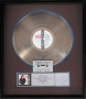 BAD RIAA Platinum Record Award Signed By Michael (1987)