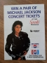 BAD World Tour Pepsi/Sarah's Restaurant Competition Flyer (UK)