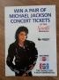 BAD World Tour Pepsi/Sarah's Restaurant Competition Flyer (UK)