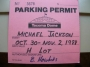 Bad World Tour '88 Crew Parking Permit (USA)