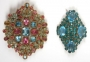 Set Of Two Brooches With Blue And Pink Stones