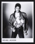 Brown Leather Jacket Black And White Photo Signed By Michael (1983)
