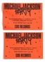CBS Records Coupon For Free Drinks At The Michael Jackson Party in Gothenburg, June 11th 1988 (Sweden)