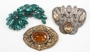 Set Of Three Metal Brooches With Coloured Stones