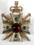 Gold Metal Brooch With Cabochon Stones