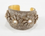 Gold Metal Cuff Bracelet Coverred With Rhinestones