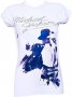 King Of Pop Diamante Official *Amplified* White Womens Shirt (UK)