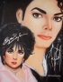Michael Jackson And Elizabeth Taylor Signed Airbrush Painting By Leon Jones (2002)