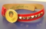 """Michael Jackson Official MJ """"Yellow Vest"""" Red Leather Belt (USA)"""