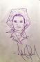 Michael Jackson Drawing Of Elizabeth Taylor *Gifted To Corey Feldman* (1999)