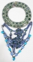 Necklace With Blue And Green Rhinestones
