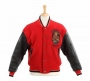 Red Wool Varsity Style Jacket With Leather Sleeves Worn By Michael Jackson (1987)