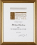 Songwriters Hall of Fame Induction Certificate (2002)