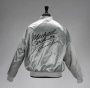 Thriller Era CBS Records Silver Nylon Jacket Signed By Michael (1983)